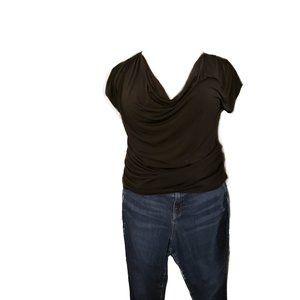Black Cowl Neck Top